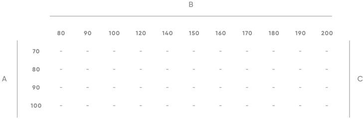 Platos de ducha - Tabla de medidas