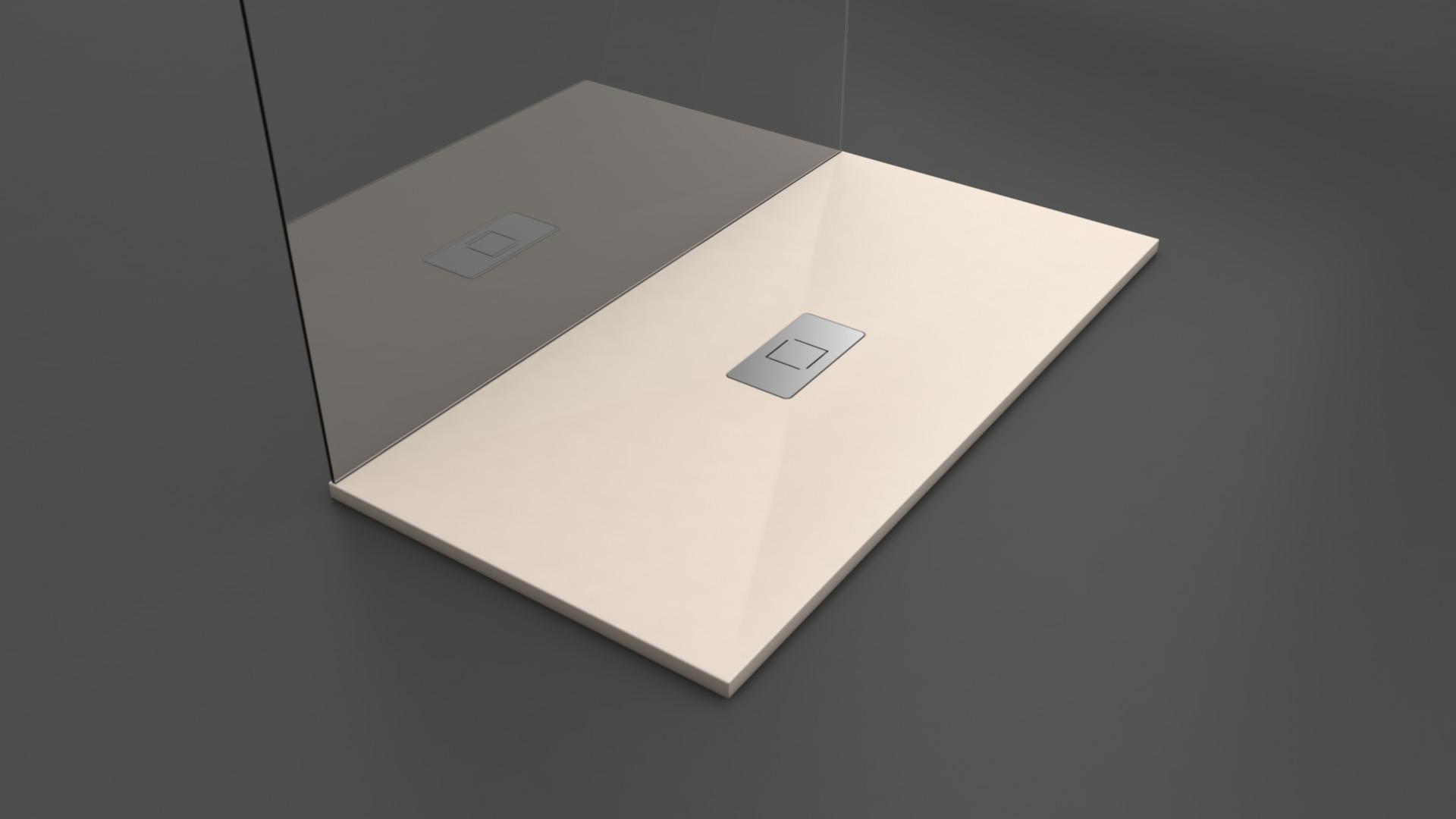 Texence Double Center Square - Plato de ducha color crema