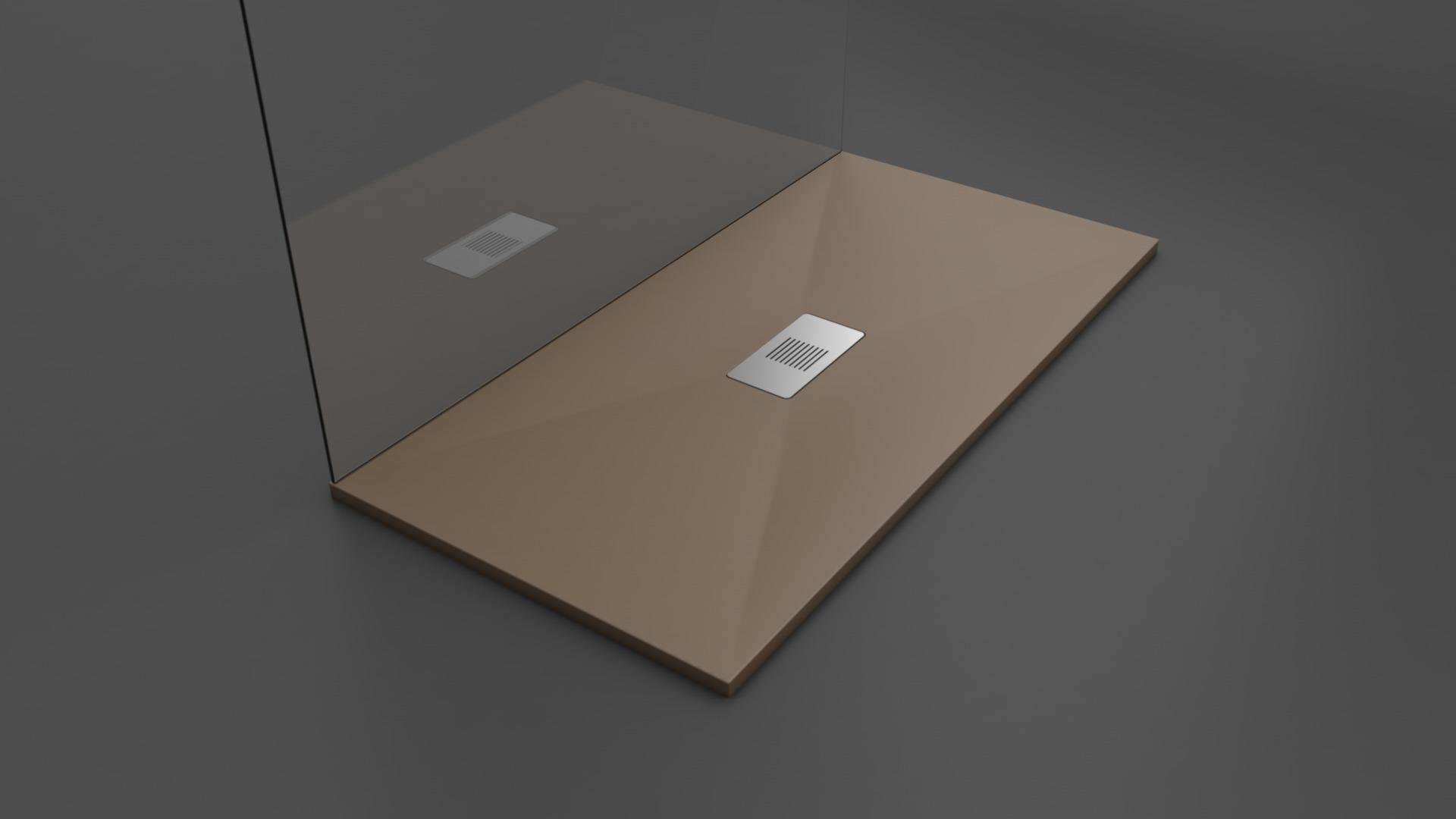 Texence Double Center Square - Plato de ducha color marrón