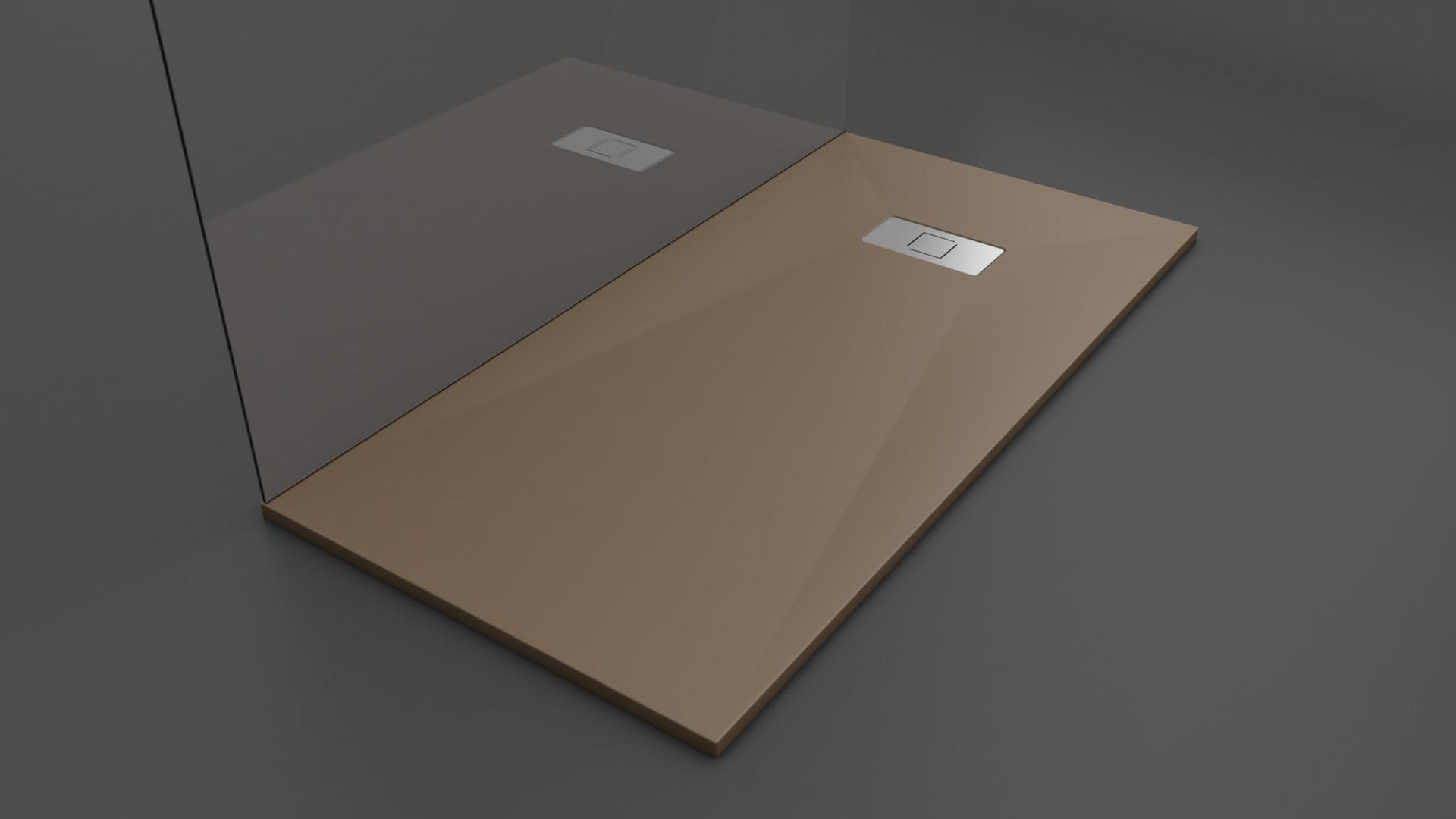 Texence Double Square - Plato de ducha marrón