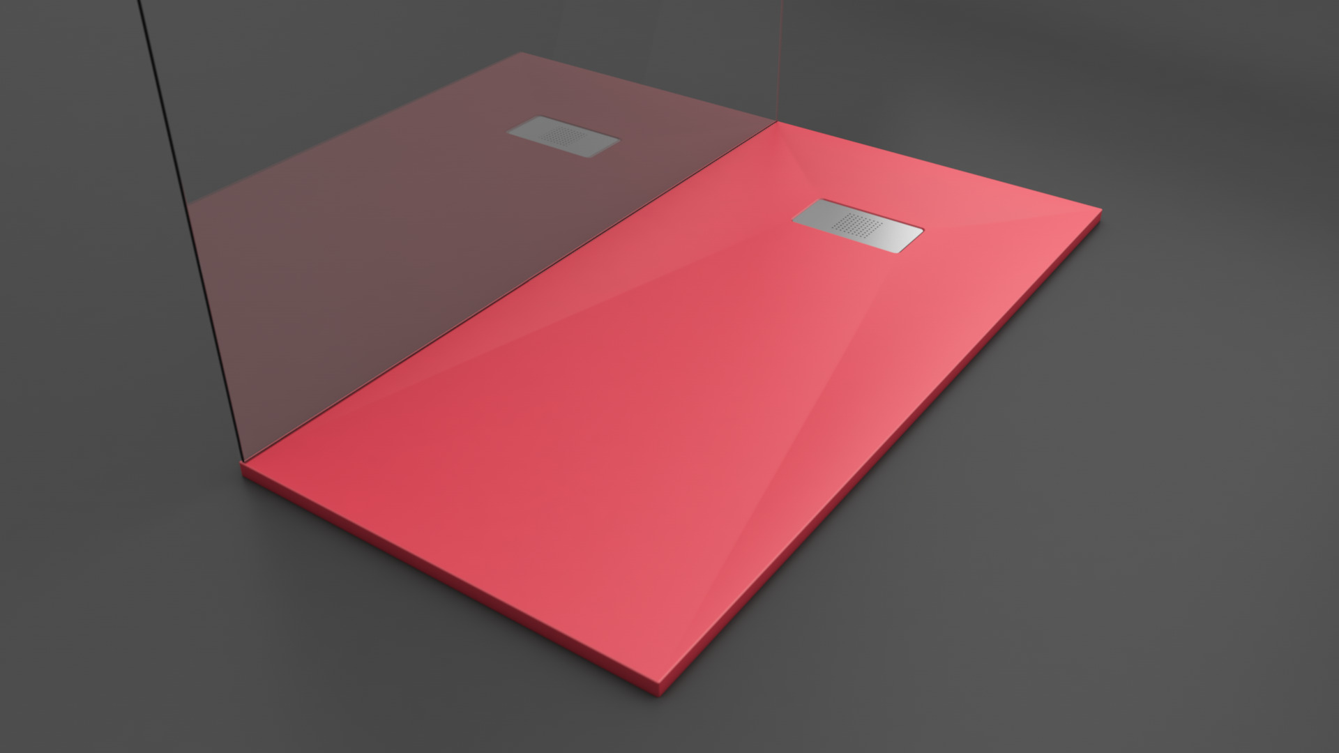 Texence Double Square - Plato de ducha rojo