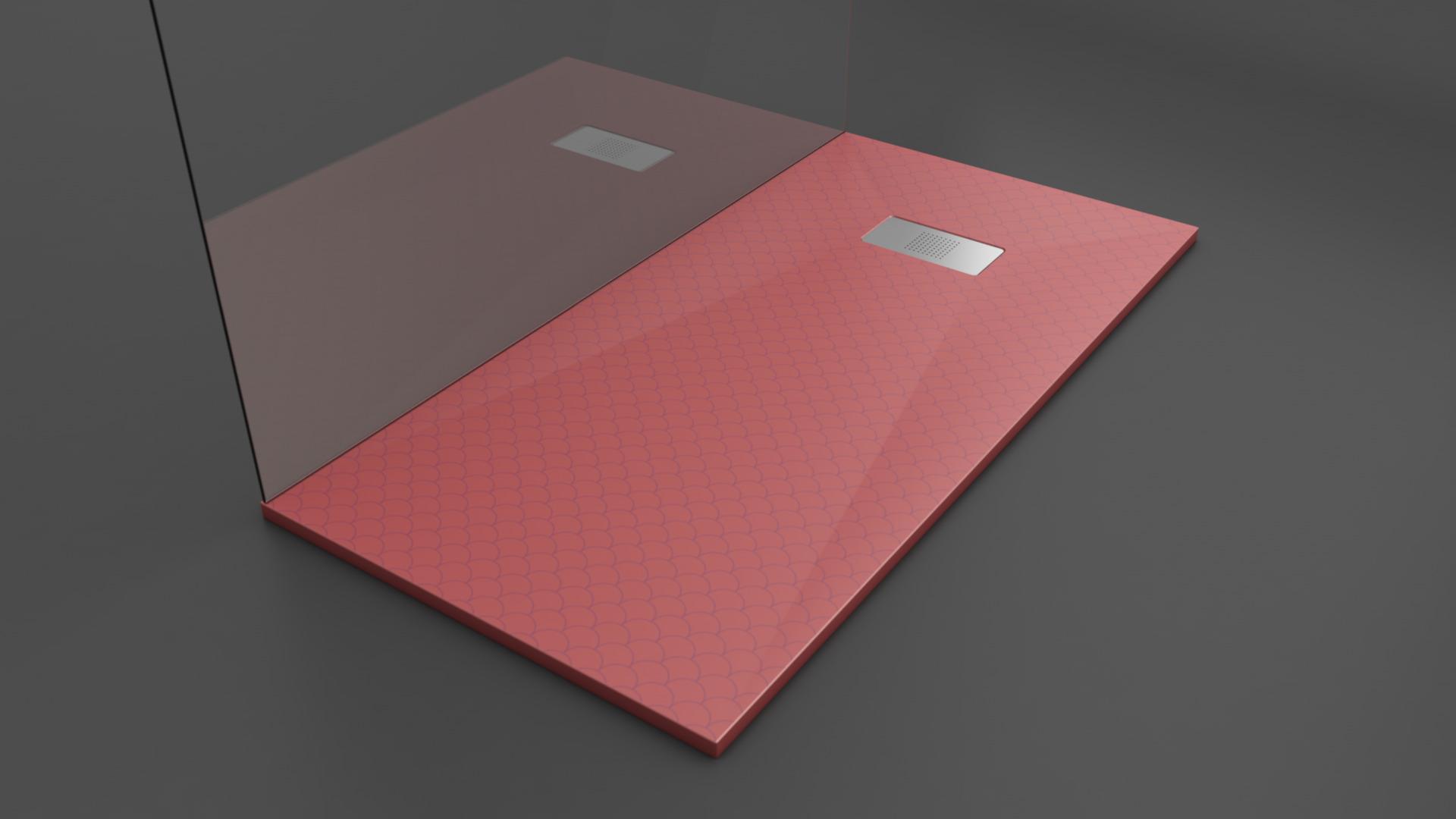 Texence Double Square - Plato de ducha con textura de escamas