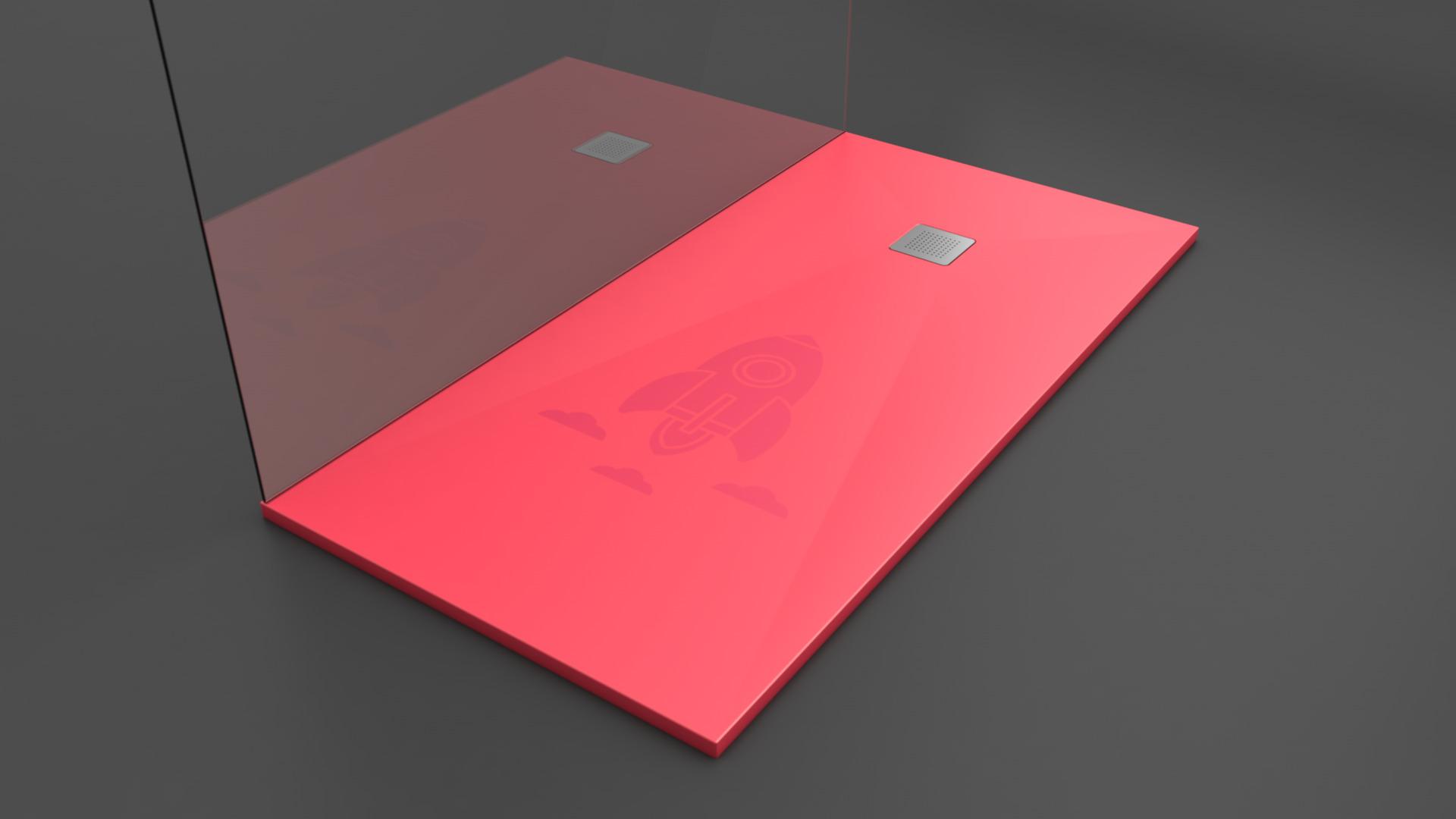 Texence Square - Plato de ducha - Rojo con textura cohete
