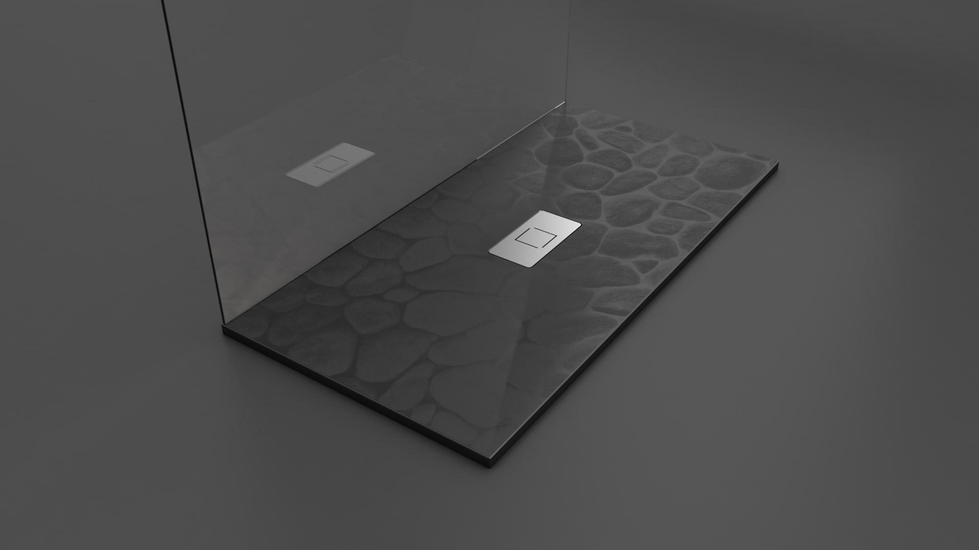 Texence - Plato de ducha con textura de piedras